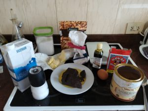 Ingredientes del brownie al microondas